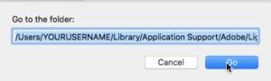 screenshot of shortcut to go to lightroom develop presets folder