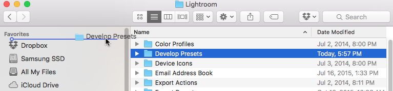 screenshot of adding your presets folder to mac OS X sidebar