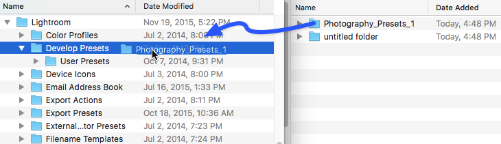 Screenshot showing how to install Lightroom presets by moving presets into the presets folder