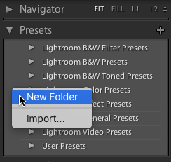 screenshot of creating a new folder in lightroom